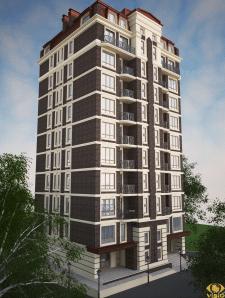 Визуализация экстерьера 10 этажного дома 2